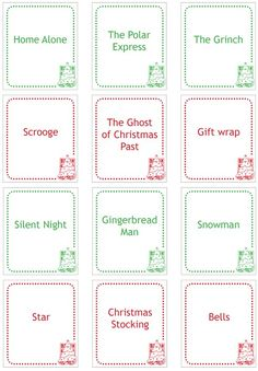 Christmas Charades Game  Printable Game Cards  Game Cards