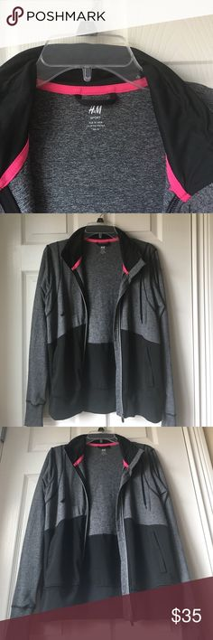 H&M Sport M Heather Gray Jacket Gym Run Athletic Great condition! Wore 2-3 times. Size M. H&M Jackets & Coats Utility Jackets