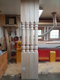 These wood porch posts are our New Country pattern. Decor, Furniture, Wood, Porch Posts, Country, Table, Home Decor, Kitchen, Porch