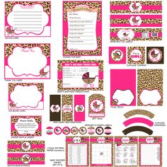 Cheetah Print Baby Shower Party Package, Cheetah Print Party Favors, Instant Do. - My WordPress Website Cheetah Baby Showers, Pop Baby Showers, Baby Girl Shower Themes, Baby Boy Shower, Cheetah Print Party, Leopard Party, Shower Party, Baby Shower Parties, Ballet Baby Shower