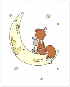 Wald-Kinderzimmer-Kunst: Fuchs und Hase sitzen auf dem Mond und auf einen Stern wünschen. * Rahmen nicht enthalten Sie können diesen Druck zu allen möglichen Farben, die Sie wählen, entweder aus der Farbkarte oder ein Bild oder Link, lass es mich wissen und ich kann eine