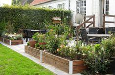Højbede adskillelse terrasse og have