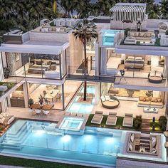 Dream Home Design, Modern House Design, Dubai Houses, Fancy Houses, Luxury Homes Dream Houses, Dream House Exterior, House Goals, Exterior Design, Future House