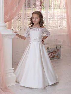 Full Length First Communion Dresses for Little Girl Bridesmaid Long Flower Girl Dress Toddler Pageant Gown Half Sleeve Lace Baby Dress