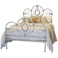 Double Cast Iron Bed in Blue Verdigris | From a unique collection of antique and modern beds at https://www.1stdibs.com/furniture/more-furniture-collectibles/beds/
