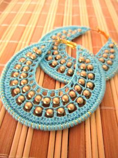 Crocheted hoops with beads in Turquoise ♥ by BohemianHooksJewelry, $16.00