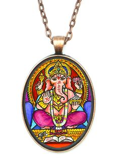 """Ganesh God Intellect Wisdom Huge 30x40mm Talisman Antique Copper Pendant with Chain Necklace. •Pendant Size is 30x40mm (1.5""""h) Includes 24"""" chain. •Pendant, with clear glass cabochon dome over the artwork. Artisan Courtyard Original Artwork by Artist Shoushan. •Includes Gift Box."""