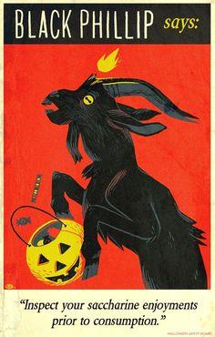 'Black Phillip Says' print by Glen Brogan for Bottleneck Gallery Black Phillip, Halloween Art, Satan, Dark Art, Art Inspo, Vintage Art, Creepy, Cool Art, Illustration Art