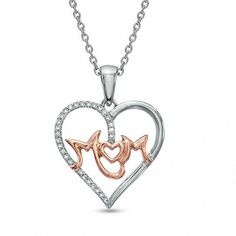"""Stacked Collier Coeur Pendentif Avec Lab Diamant//16/"""" à 18/""""//925 Sterling Silver"""