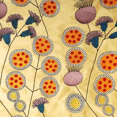 "Wiener Werkstratte, 1900 ViennaSPECIFICATIONS  Ground Gold / 100% Silk  Hand Embroidery Silk / rayon  Color Yellow / red / mauve  Repeat V 19.5"" / H 13""  Width 52""  Rollover image to zoom"