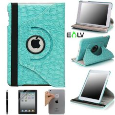 E-LV 360 Degrees Rotating Stand Leather Smart Case for Apple iPad Mini/iPad Nano Red Luxury Crocodile Pattern - Free Screen Protector and Cleaning Cloth (Retail Packaging) (Blue, iPad mini) by E-LV. $14.95. 3 conveient stand positions, for watching movie or typing. Free Screen Protector and Cleaning Cloth are included. Stylish crocodile pattern leather exterior with soft microfiber lining interior. 360 degrees rotating swivel allows the iPad to rotate both vertically an...