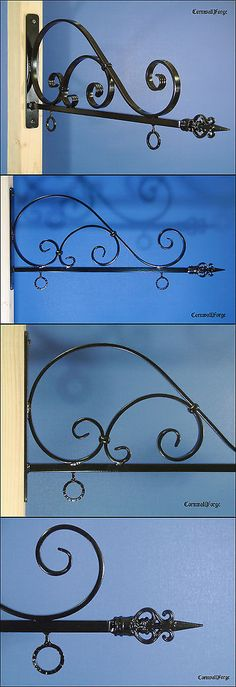 Other Handcrafted Pieces 57738: Sign Bracket - Sign Hanger - 24 Wide Sign Capacity - Forged Wrought Iron -> BUY IT NOW ONLY: $225 on eBay!