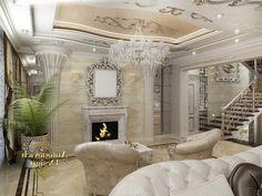 Living Room Fashionable Sparking House With Glamour Interior Design In Living Room As Well Fancy Chandelier In White Gold Ceiling Including Fireplace Under Mirror Wall Mounted And Plant Corner How to Put the Most Exciting and Exotic Houseplant in Green Living Room