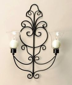 Scrolled Metal Candle Wall Sconce - Candle Holder