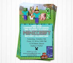 Minecraft Birthday Party Invitations - Personalized - Printable PDF File