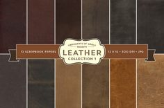 12 Leather Scrapbook Papers  Collection 1  Digital by Creatifolio, $5.00