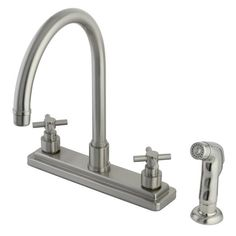 Kingston Brass KS879.EX Elinvar Centerset Kitchen Faucet with Deck Plate Metal Satin Nickel Faucet Kitchen Double Handle