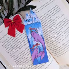 Excited to share this item from my #etsy shop: Purple Narwhal Bookmark, Ice Burg Bookmark, Christmas Bookmark, Winter Bookmark, Whale Bookmark, Sea Life Bookmark, Ocean Bookmark