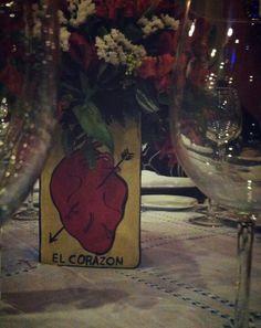 El corazon LA loteria flower vase