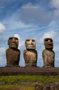 Easter Island Statues under blue sky Easter Island Statues, Ancient Discoveries, Mysteries Of The World, Old Stone, Greatest Adventure, Mysterious, South America, Places To See, Surfing