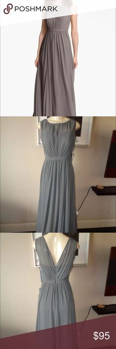 "Jenny Yoo collection pleated chiffon charcoal gown Jenny Yoo collection, solid Charcoal long (60"") gown, size 14, pleated chiffon, only worn once to a wedding, in great condition Jenny Yoo Collection Dresses Maxi"