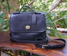 Vintage Black Leather Coach Satchel Crossbody by TheLionsDenStudio, $86.25