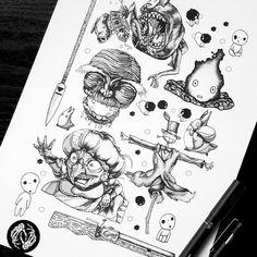 Items similar to FLASHSHEET - Art Print - Studio Ghibli - Anime Characters - Disney - Illustration - Dotwork Linedrawing - Dark Art - Tattoo on Etsy Dark Art Tattoo, Blackwork, Art Drawings, Disney Sleeve Tattoos, Ghibli Tattoo, Dark Disney Tattoo, Art, Disney Tattoos, Anime Tattoos