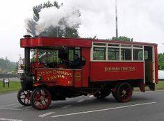 """""""Now for a change here are a few vehicles of interest. This is a steam driven bus, a Horsham Traction one at that. Vintage Tractors, Old Tractors, Vintage Trucks, Old Trucks, Locomotive, Ford Ranger Truck, Steam Tractor, Old Lorries, Bus Coach"""