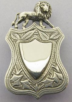 Large Antique Victorian Solid Sterling Silver Lion Watch Fob Pendant Bir 1890   eBay
