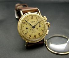 Vintage Chronograph watch .. UNIVERSAL GENEVE COMPUR...Cal.283...18K Case...40's