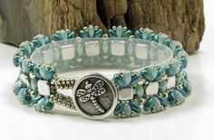 SUPERDUO TILE BRACELET-Silver Tiles-Turquoise and Pearl Coat Teal SuperDuos-Ruffle Bracelet-Czech Glass Beads-TierraCast Button-(SD36) by CinfulBeadCreations on Etsy https://www.etsy.com/listing/467789083/superduo-tile-bracelet-silver-tiles