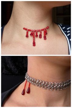 BUY or DIY 2 Sinister Necklaces.Top Photo: BUY - $22 Halloween Bloody Dripping Choker Necklace from the Etsy Store of WeirdlyCute. Bottom Photo: DIY - Vampire Bite Necklace from Blue Buddha Boutique....
