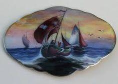 Gustav Gaudernack design (?) Gilt silver guilloché enamel brooch with hand painted sailboats heading ashore in the evening.