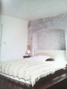 White brick, feature wall, white bedroom