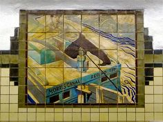 WPA Mural, Newark City Subway, Newark, NJ    A mural in the Warren Street Station. One of eight different WPA murals depicting life on the Morris Canal. The tile murals were designed by Domenico Mortellito (1906-1996). For more information and photos visit sites.google.com/site/historictileinstallationsn/nj_newar....