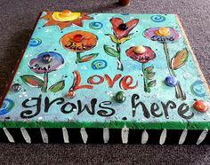 Items similar to Garden Stone, Stepping Stone, Love grows here on Etsy Stepping Stones Kids, Painted Stepping Stones, Painted Pavers, Paver Stones, Painted Rocks, Painted Bricks Crafts, Brick Crafts, Concrete Crafts, Concrete Pavers