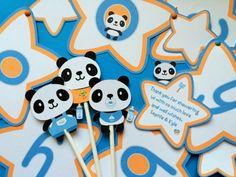 Panda baby cupcake toppers 12 panda toppers baby panda