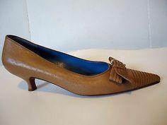 Salvatore Ferragamo Tan Front Gold Buckle Women Pump Dress Shoe Kitten Heel 11B