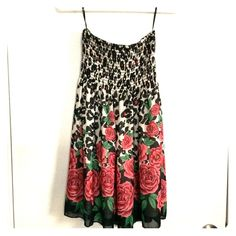 Leopard Rose Print Strapless Dress Black-and-white leopard rose print strapless dress. Flowing material. Two layers. Ruched bust. Fantastic condition. Forever 21 Dresses Strapless