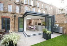 Kitchen extension 1 - contemporary - Patio - London - Architect Your Home - Interior Your Home House Extension Design, Extension Designs, Glass Extension, Roof Extension, House Design, Extension Ideas, Building An Extension, Bifold Doors Extension, Extension Google