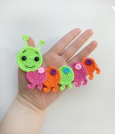 PATTERN Caterpillar Applique Crochet Pattern PDF Instant Download Baby Shower Gift Spring Bug Pattern Motif Ornament for Baby Blanket ENG