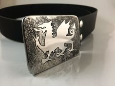 Welsh Dragon Belt Buckle  Etched Stainless Steel  by RhythmicMetal