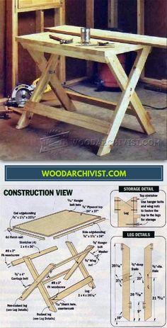 DIY Folding Work Table - Workshop Solutions Plans, Tips and Tricks | WoodArchivist.com