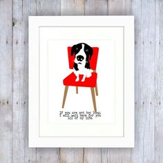 Hound Dog Art Wall Decor Waiting on a Red Chair to by GoingPlaces2