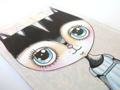 Cat Aceo Mixed Media Cute Cat by LittleNore on Etsy, £8.00