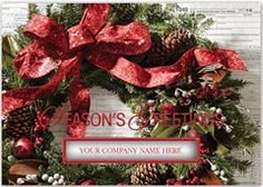 Taxable Tidings Christmas Card.   • Add a company logo to this product if you choose • Select from a variety of greetings in English or Spanish • Up to 5 lines of personal greeting available for inside imprint • Folding service available. Call office for details • Card Size: 7 7/8 x 5 5/8 • 35 Characters per imprint line • Standard Verse: Greetings of the season and best wishes for the New Year • Company name shows from inside of card onto cover through die cut window.