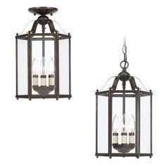 for front hall.. #lighting Sea Gull Lighting 3-Light Bronze Ceiling Flushmount