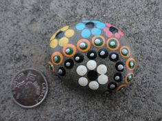 PAINTED BEACH STONE / Pebble Art /Hand Painted Stone/ Dot Painted Stone /Home Decor / Decorative Rock/ Abstract / Acrylic / Original on Etsy, $9.08 CAD