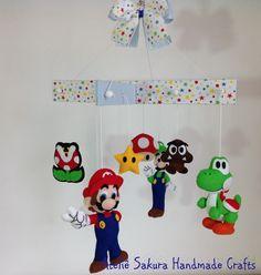 Móbile de berço tema Super Mario Bros