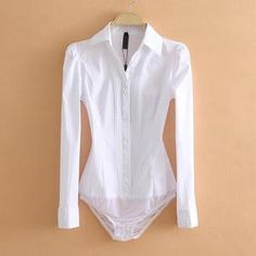For Sale - Elegant Bodysuits Women Office Lady White Body Shirt Long Sleeved Blouse Turn Down Collar Tops Female Clothing 2019 Suit Shirts, Shirt Blouses, Satin Blouses, Cheap Blouses, Blouses For Women, Long Sleeve Bodysuit, Long Sleeve Shirts, Jw Moda, Pullover Shirt